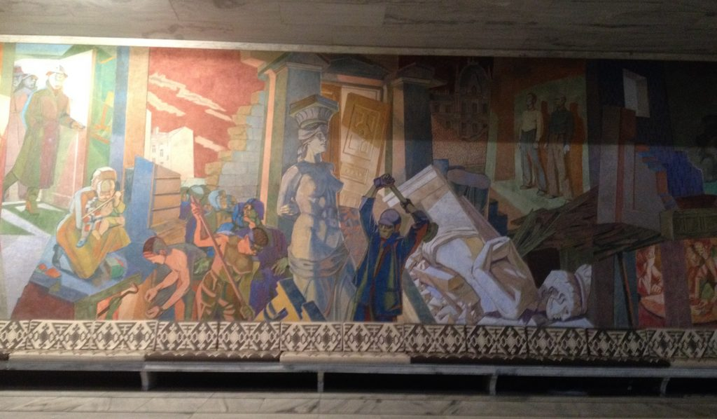 Reception of DHN conference at the Oslo City Hall. Interesting murals were all over the place.