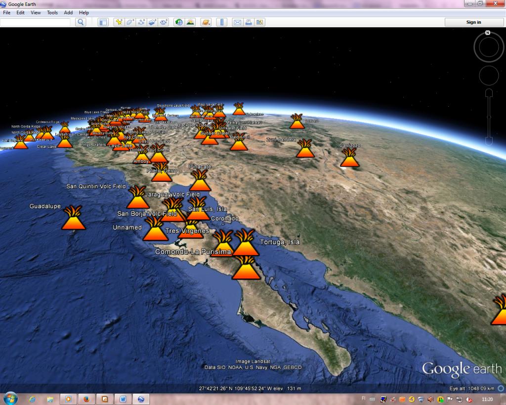 Kuvat 3 & 4. Tulivuoritietokannan aineistoja Google Earthissa