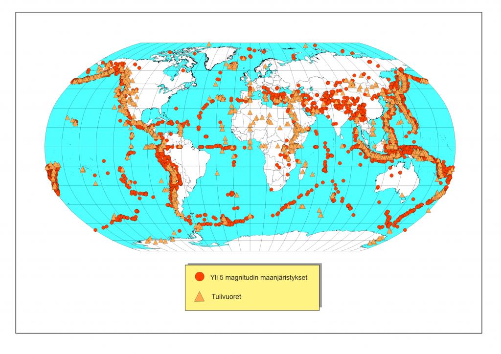 Kuva 4. Tulivuoret ja maanjäristykset samalla kartalla