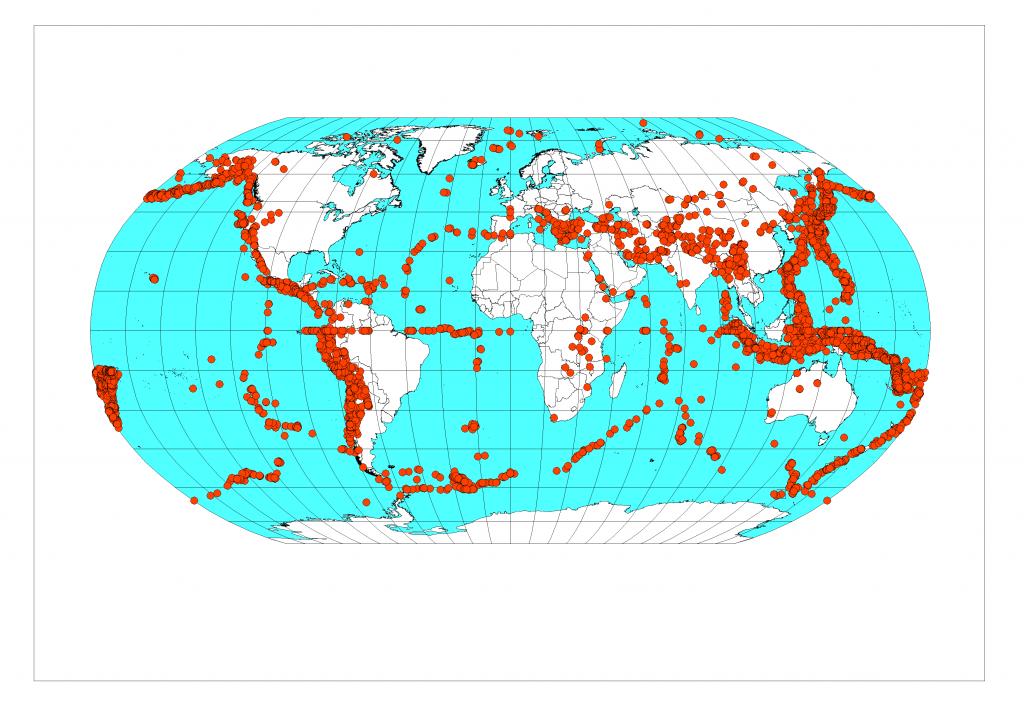 Kuva 2. Yli 5 Richterin järistykset 1980-2013