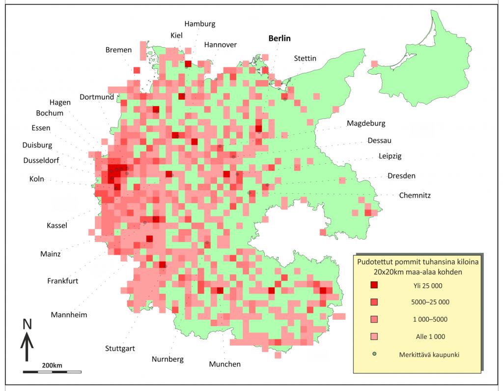 Kuva 4. Saksaan pudotetut pommit tonneina 20x20 km alaa kohden