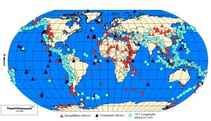Kuva 4. Maanpäällisten ja vedenalaisten tulivuorten sijainti verrattuna vuodesta 1900 eteenpäin tapahtuneisiin yli 7.0 magnitudin maanjäristyksiin
