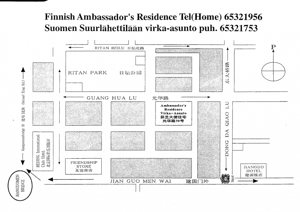 map of Finnish Ambassador's residence