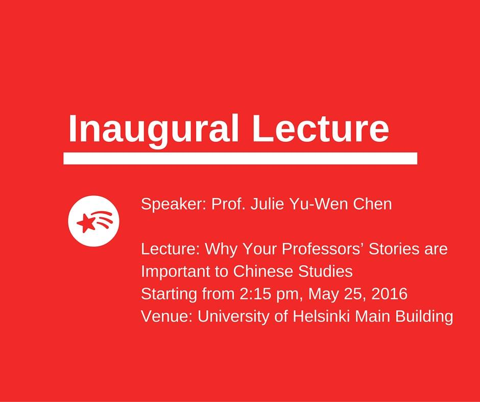 Inaugural Lecture of Prof. Julie Yu-Wen Chen