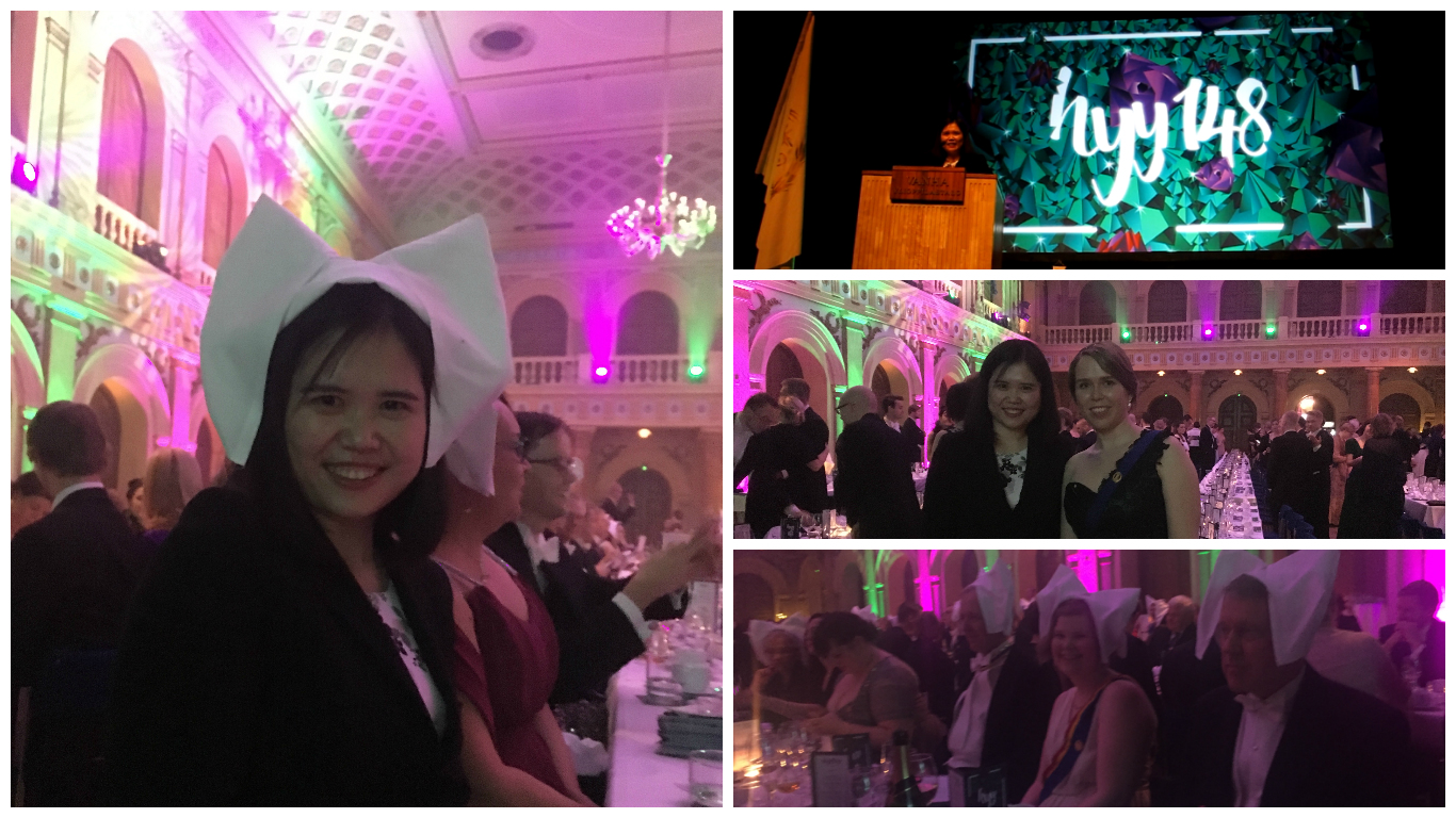 Ms. Haixia Wang had great fun in the celebration party of the Student Union of the University of Helsinki.