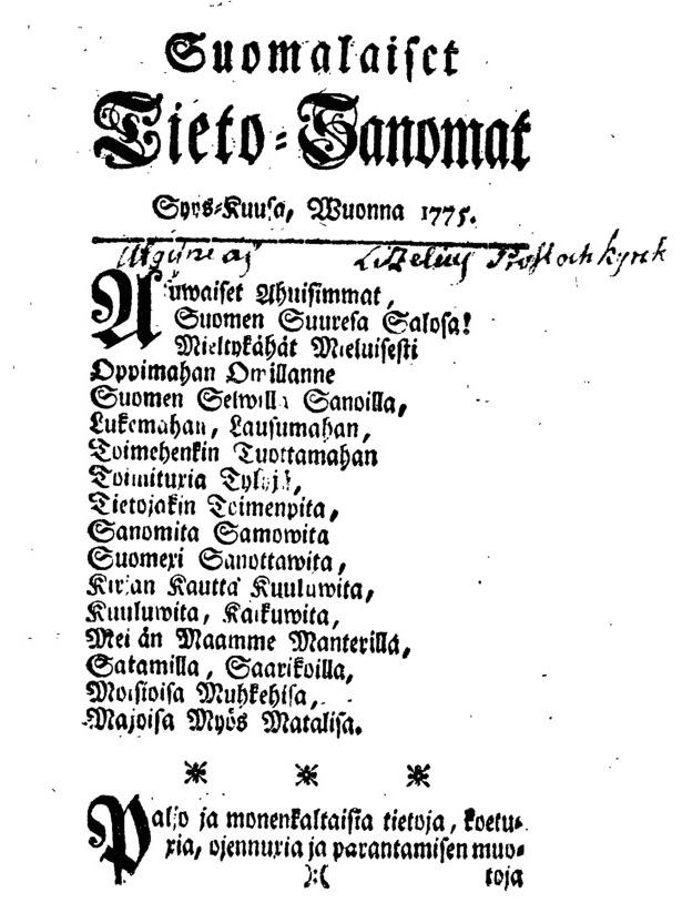 Suomalaiset Tieto-Sanomat 1775