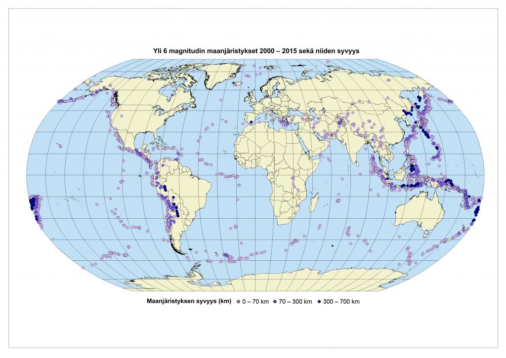 Kuva 4 Vähintään kuuden magnitudin maanjäristykset vuosina 2000 - 2015 sekä niiden syvyydet.