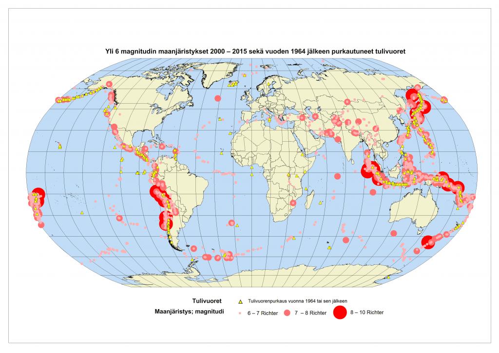 Kuva 1 Kartta yli 6 magnitudin maanjäristyksistä (2000 - 2015) sekä tulivuoret jotka purkautuneet vuoden 1964 jälkeen.