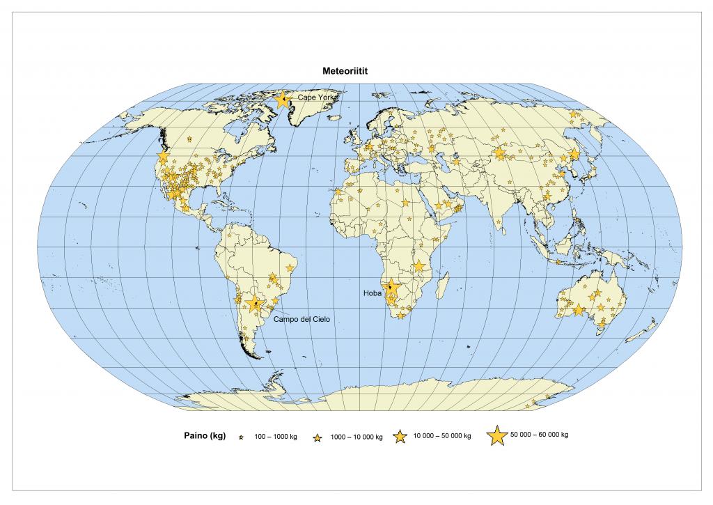 Metoriittien löytämispaikat meteoriitin painon mukaan.