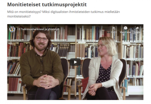 Screenshot of video from MOOC - Ville Rohiola and Anna Wessman talk about citizen science and the SuALT project