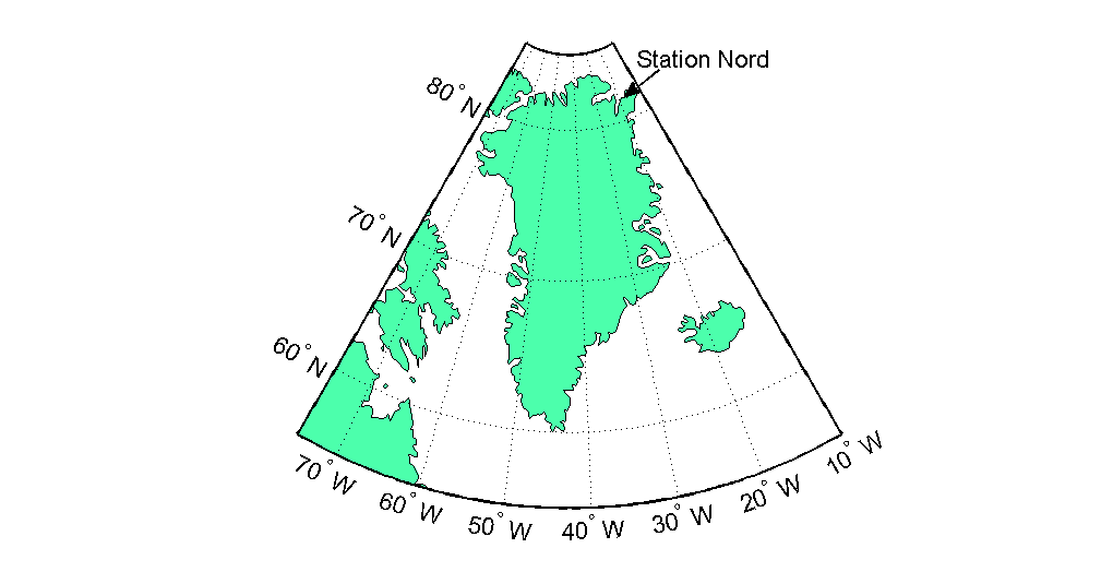 Location of the Villum Research Station in Station Nord in Northern Greenland