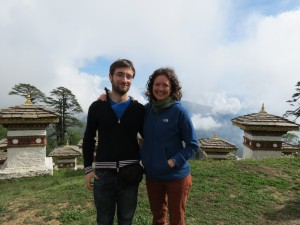 Photo 1. Aili & Álvaro on our first day in Bhutan