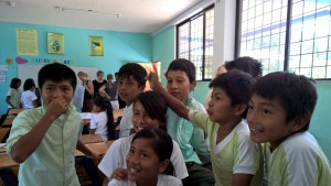 Visiting a class room in Santa Clara School