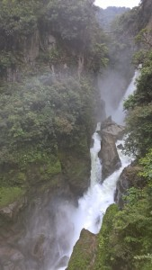 A waterfall that we saw on the way from Baños to Puyo