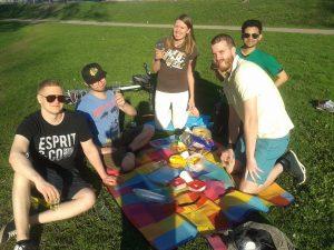 Development geographers in a park