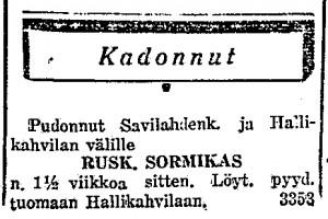 Pikkuilmoitus Länsi-Savossa 6.6.1942