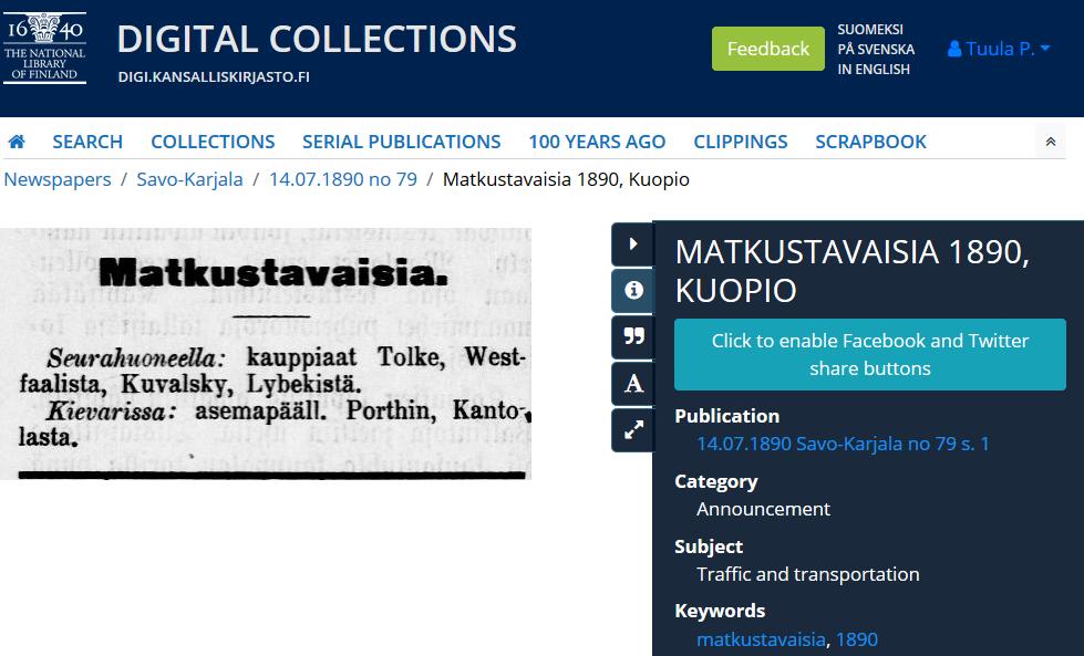 Matkustavaisia clipping in digi.kansalliskirjasto.fi