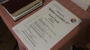 Conference program on a table