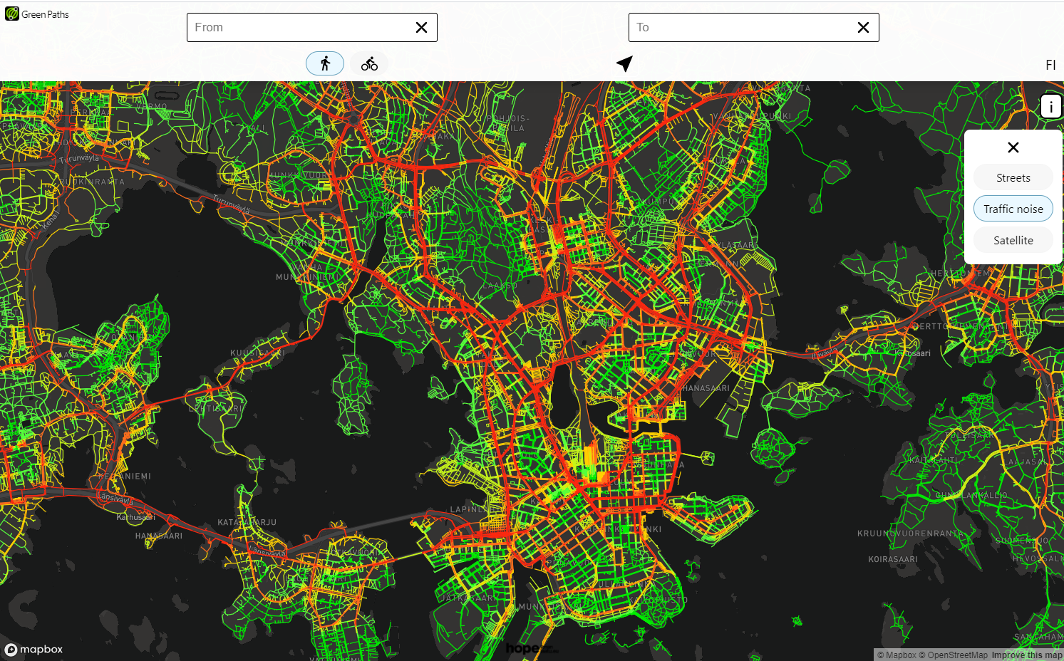 Green Paths tool: street level noise