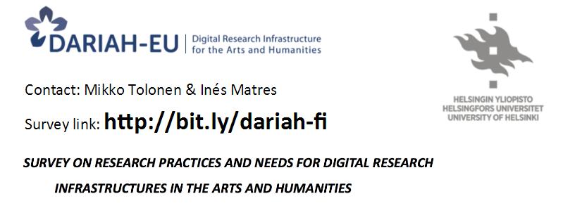 Dariah survey 2016, at http://bit.ly/dariah-fi