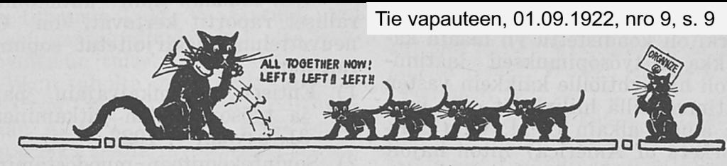 Iso kissa vasemmalla ja pikkukissoja rivissä