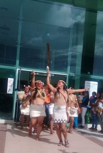 Waorani people dancing