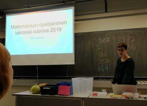 Pia Vikberg puhuu lukio-opetuksesta vuonna 2019
