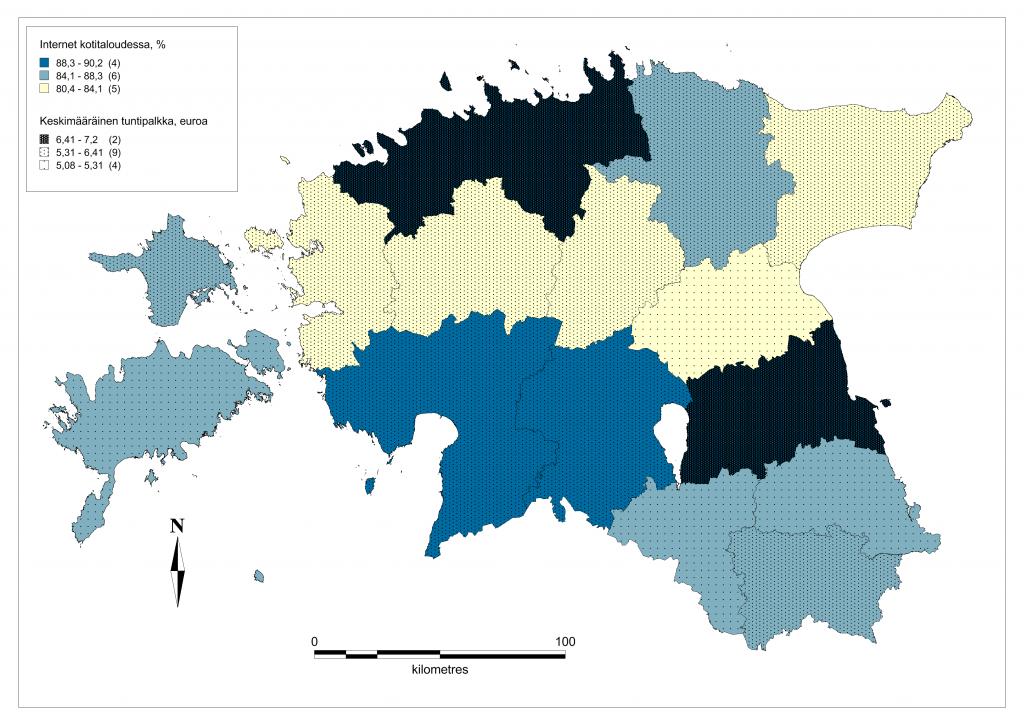 Kuva 1. Internetin omaavat kotitaloudet sekä keskipalkka euroissa.