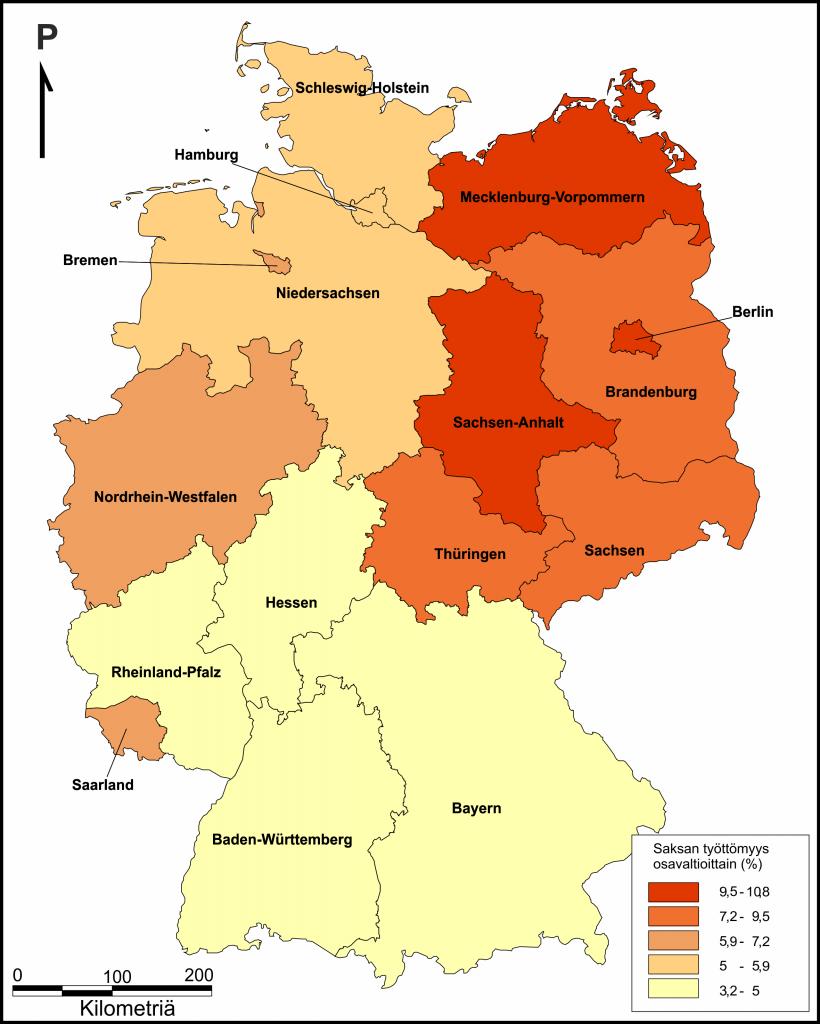 Saksan työttömyysprosentti