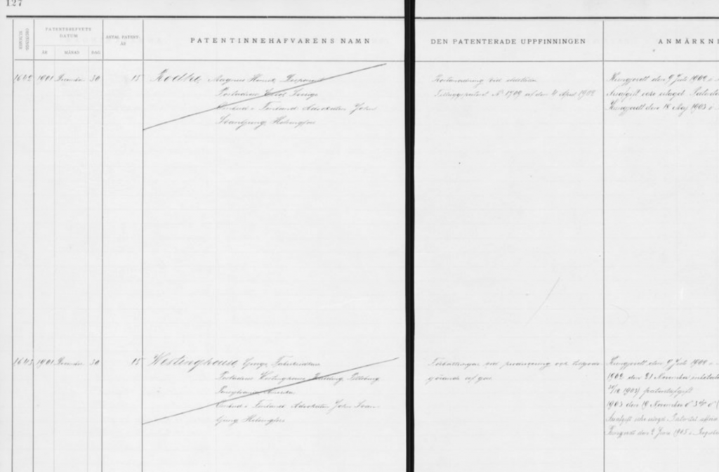 A sample patent register page