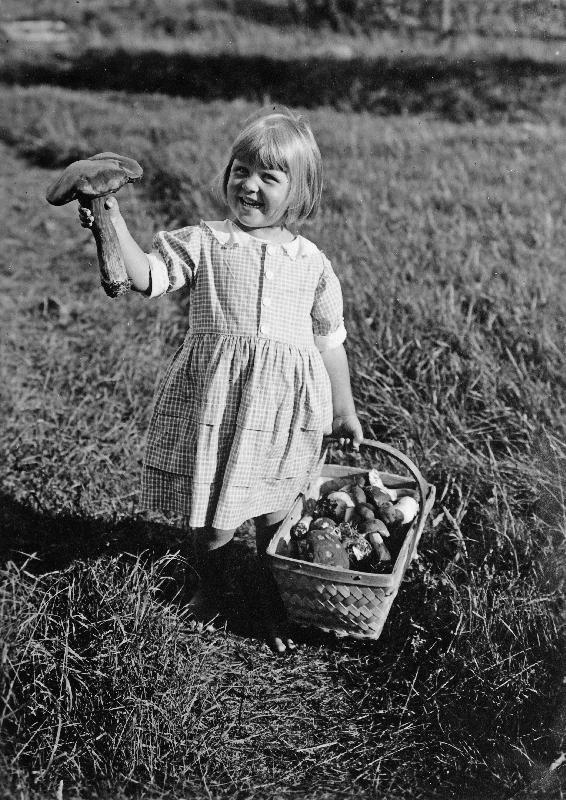 Pikkutyttö täyden sienikorin kanssa, mustavalkoinen valokuva
