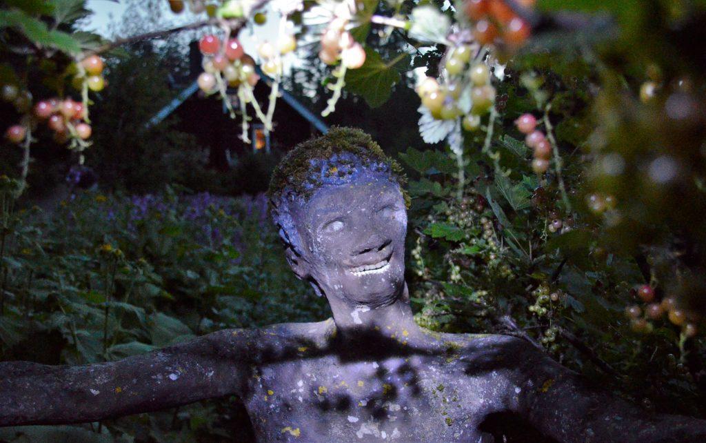 irvistävä patsas viinimarjapensaan seassa