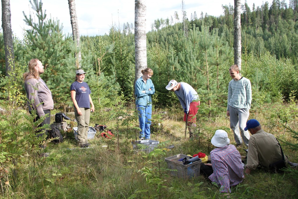 Many M.Sc theseses are done in research groups. Finnish-Swedish research group is having a break in field work in August 2013. Photo: H-S. Helmisaari.