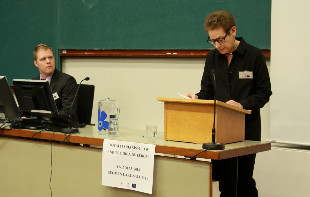 Keynote speaker professor Nancy Partner giving a lecture.