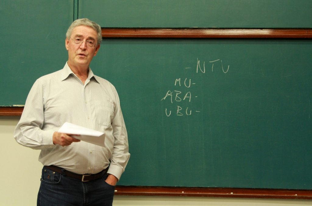 "Professor Thomas Bennett giving a lecture ""Ex Africa semper aliquid novi: Ubuntu, the African doctrine of equity""."