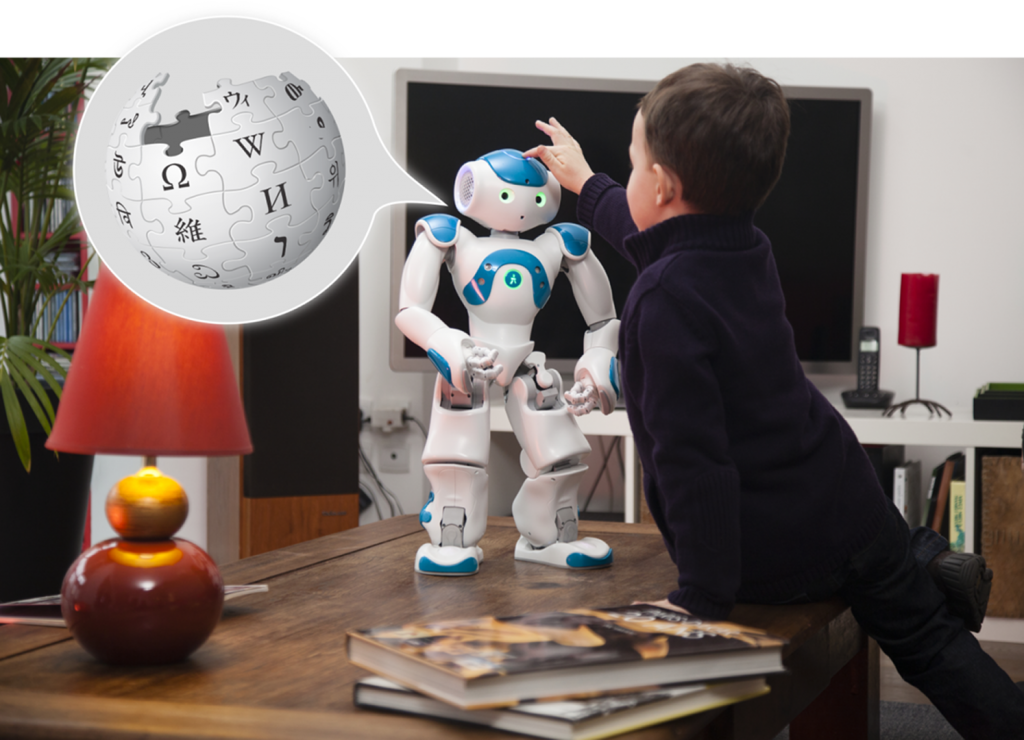 A child using WikiTalk with a robot