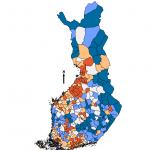 Kuva 1. 0-14 vuotiaiden osuus väestöstä vuonna 2011.