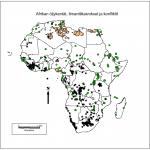 Kuva 1. Teemakartta Afrikan öljykentistä, timanttikaivoksista ja konflikteista.