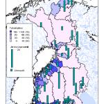 Kuva 3. Teemakartta Suomen valuma-alueista ja näiden alueiden järvisyysprosentti.