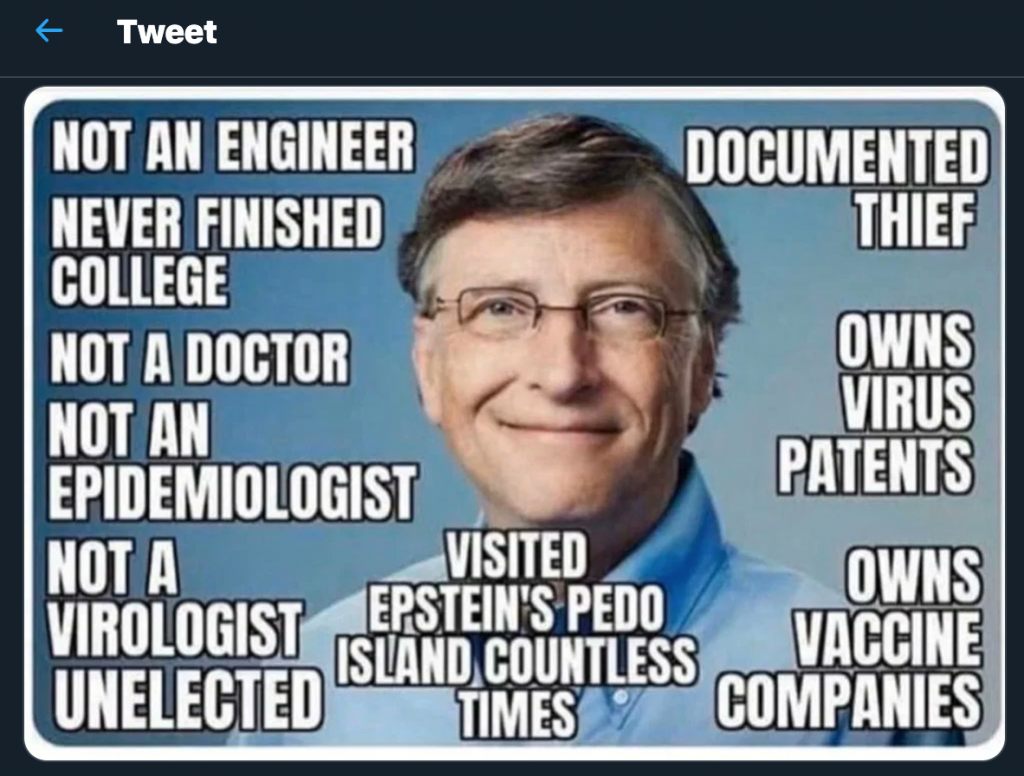 "Meme against Bill Gates (with text such as ""not an engineer"", ""never finished college"")"