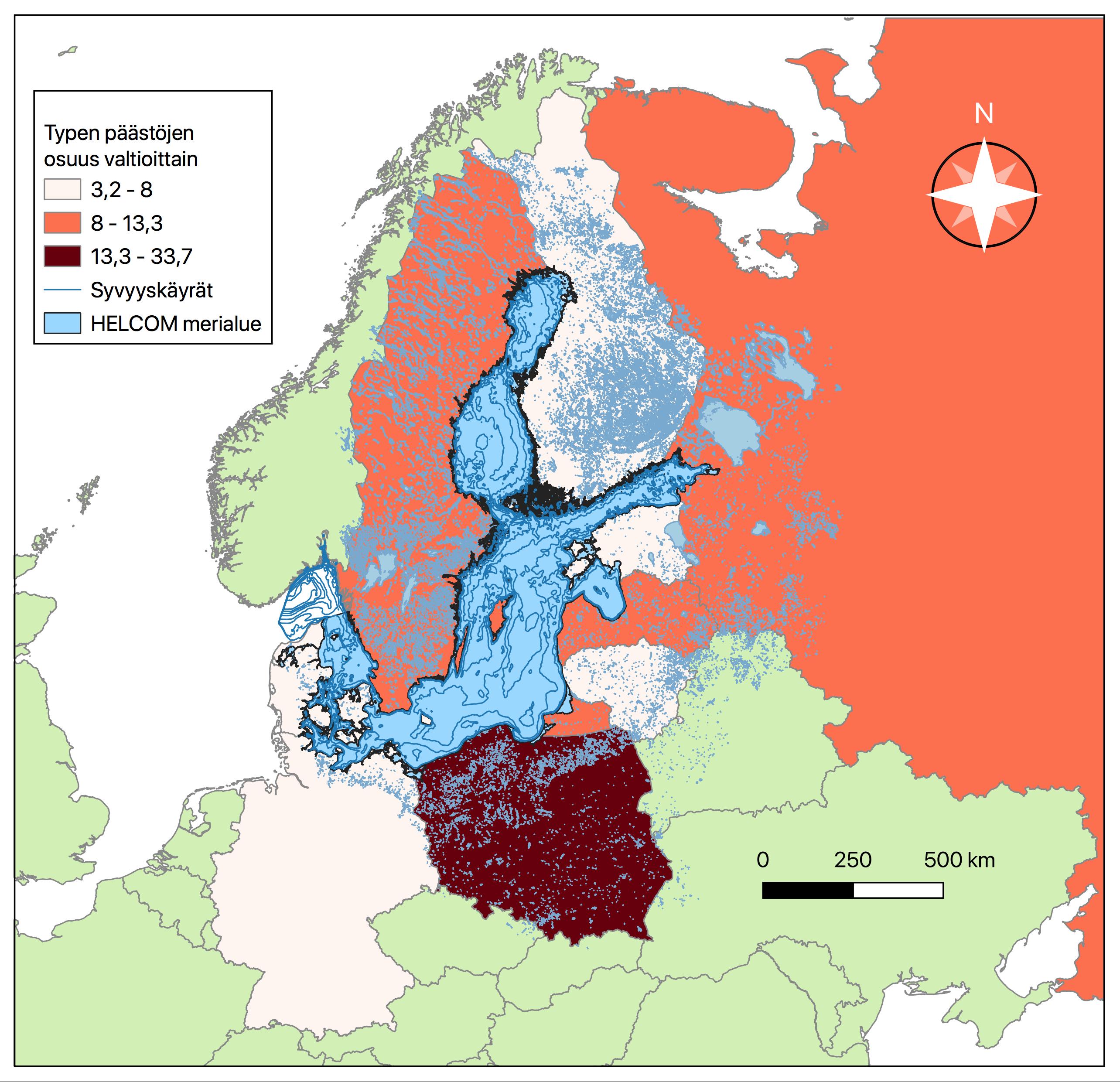 Pohjois-Euroopan kartta joka on keskittynyt Itämeren ympärysvaltioihin. Typen päästöjen osuudet valtioittain on luokiteltu asteikoilla vaaleanpunainen 3,2-8, punainen 8-13,3 ja tummanpunainen 13,3-33,7. Vaaleanpunaisina eli typpipäästöiltään pieniosaisimpina valtioina on väritetty Saksa, Tanska, Liettua, Viro ja Suomi. Punaisella eli keskisuurilla päästöillä on väritetty Ruotsi, Latvia ja Venäjä. Ainoana suuripäästöisenä maana tummanpunaisena on värjätty Puola. Loput kartassa näkyvät Euroopan maat ovat taustakarttana ja väriltään vaalean vihreitä, sillä ne eivät ole osana typpipäästötilastoja.