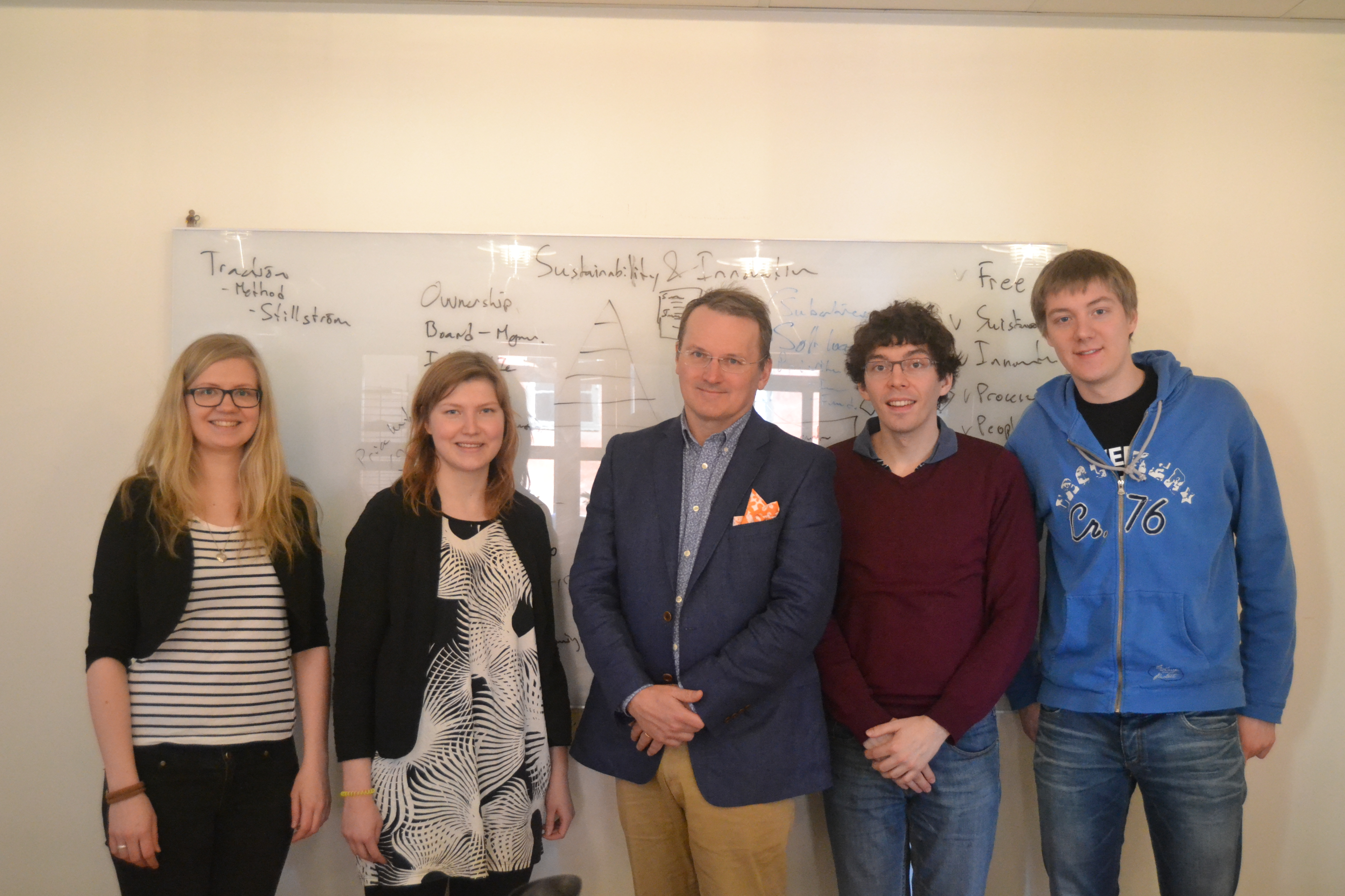 Mira, Mari, Tom and Oskari at Learnways with Nils (in the middle)