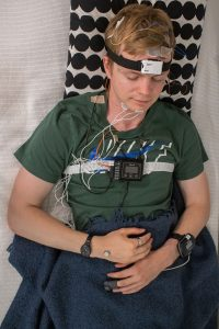 Paavo wired up and sleeping