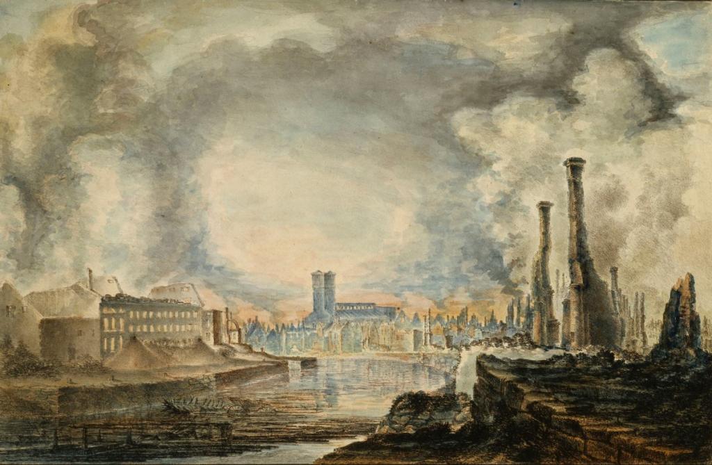 Åbo efter branden. Ruiner af Åbo, en kolorerad litografi av Gustaf Finnberg, 1827.