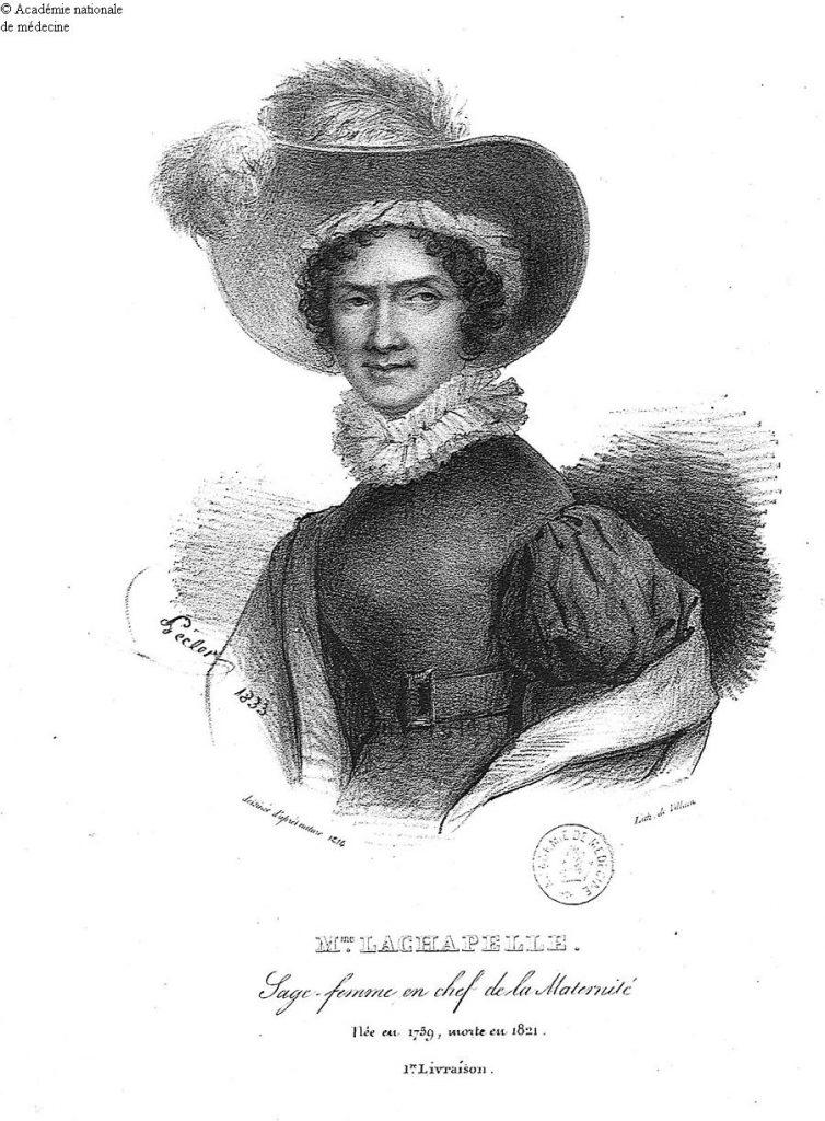 Porträtt av Marie-Louise Lachapelle i en puffärmad klänning och plymhatt.0