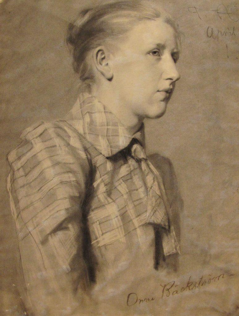 En ritning av en ung kvinna i profil. Hon har en rutig blus och håret i knut. Halvfigurporträtt.