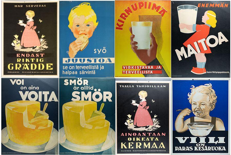 Collage av bilder med affischer i olika färger. Affischerna visar barn och olika mejeriprodukter.