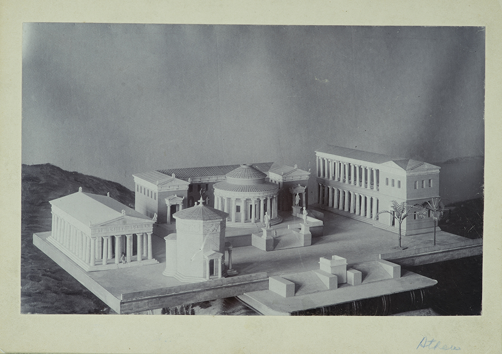 A black-and-white photograph of the group of scale model buildings.