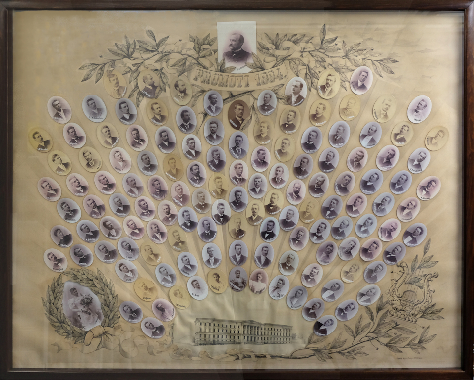 The Main Building of the University of Helsinki at bottom centre, from which close-up images of individual graduands radiate. On the left is the official garland weaver surrounded by a drawing of a laurel garland, and on the right are drawings of a lyre and a laurel branch.