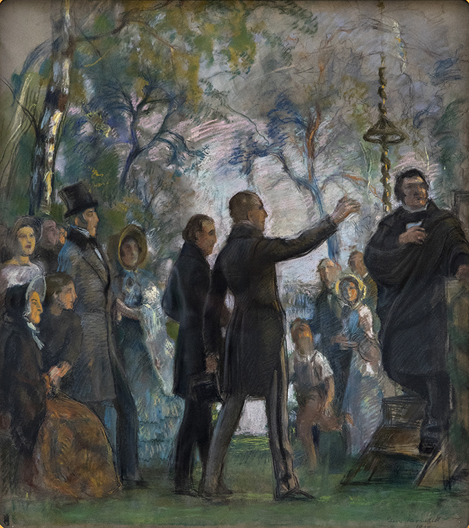 Eero Järnefelt's pastel work depicts people in a park. Cygnaeus is on the right-hand side. There are listeners in the middle and on the left-hand side. There are birches in the background.